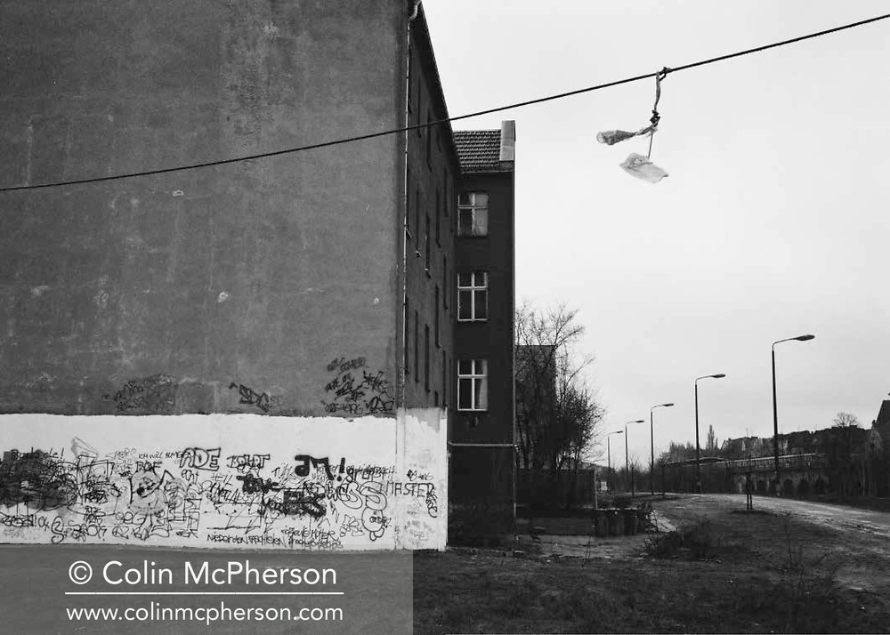 Double page spread from Cafe Royal Books publication entitled 'Berlin After the Wall 1992-94' by photographer Colin McPherson. Edition of 250, published in 2019 to coincide with the 30th anniversary of the fall of the Berlin Wall.