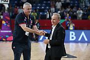 Predrag Sasha Danilovic, Giovanni Petrucci<br /> Nazionale Italiana Maschile Senior<br /> Eurobasket 2017 - Final Phase - 1/4 Finals<br /> Italia Serbia Italy Serbia<br /> FIP 2017<br /> Istanbul, 13/09/2017<br /> Foto M.Ceretti / Ciamillo - Castoria
