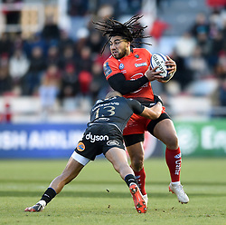 Ma'a Nonu of Toulon is tackled by Jonathan Joseph of Bath Rugby - Mandatory byline: Patrick Khachfe/JMP - 07966 386802 - 09/12/2017 - RUGBY UNION - Stade Mayol - Toulon, France - Toulon v Bath Rugby - European Rugby Champions Cup