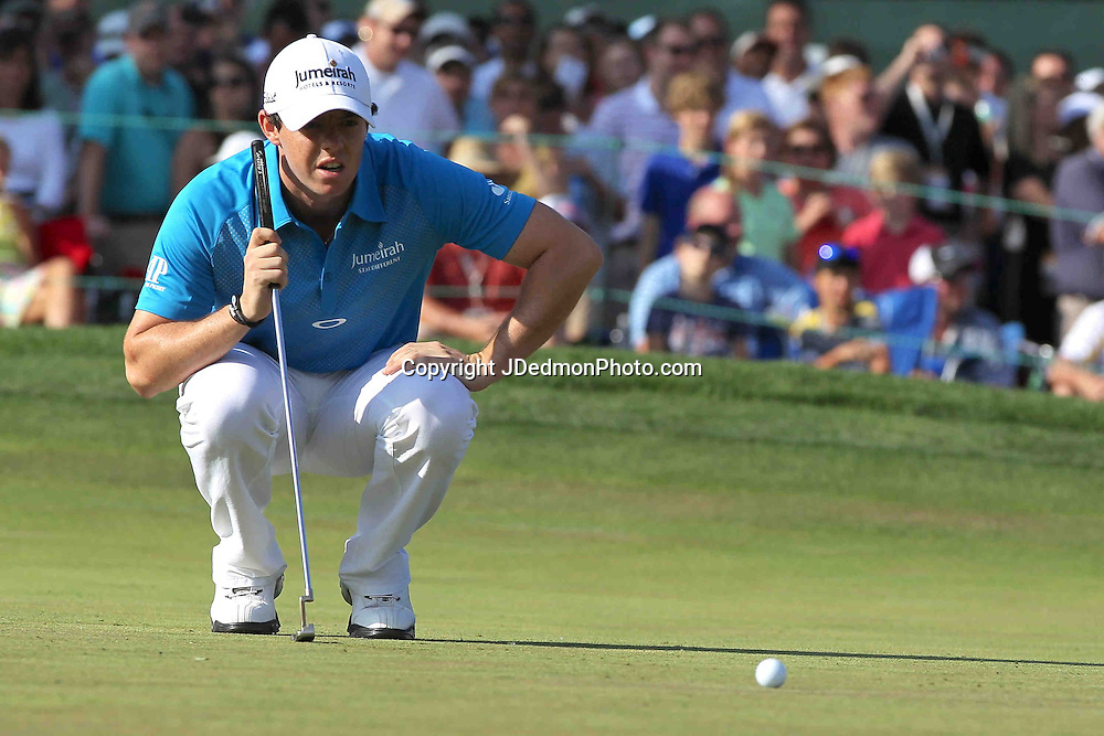 06 May 2012: Rory McIlroy lines up his putt during final round action at the the Wells Fargo Tournament at Quail Hollow Country Club, Charlotte, North Carolina. Rickie Fowler wins the tournament in a three-way playoff again D.A. Points and Rory McIlroy.