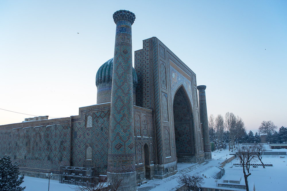 Snow on the Silk Road: one of the oldest madrasahs, with snow on its dome, Registan, Samarkand. Feb 5-6, 2014 saw a rare sustained snowy period in Samarkand, Uzbekistan, breaking record lows and resulting in school closures and power outages