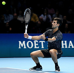 November 14, 2018 - Londres, Angleterre - Serbia's Novak Djokovic (SRB) pictured during his winning second  round -robin match of The Nitto ATP Finals 2018 at  The O2 Arena, London (Credit Image: © Panoramic via ZUMA Press)