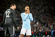 Leicester City Goalkeeper Danny Ward (12) laughs at Manchester City midfielder Raheem Sterling (7) after his missed penalty during the quarter final of the EFL Cup match between Leicester City and Manchester City at the King Power Stadium, Leicester, England on 18 December 2018.