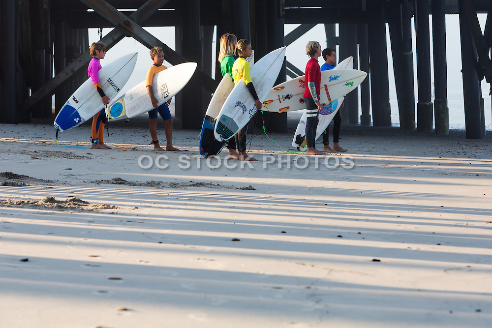 Young Surfers at San Clemente Pier