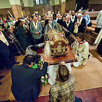 "London October 11th  pilgrims  pray  at the Church of Our Lady of Mount Carmel and St Simon Stock in Kensingtonof  for the arrival of the relics of St Thérèse of Lisieux..St Thérèse was a French Carmelite nun whose love for nature earned her the title of ""The Little Flower of Jesus""..***Agreed Fee's Apply To All Image Use***.Marco Secchi /Xianpix. tel +44 (0) 771 7298571. e-mail ms@msecchi.com .www.marcosecchi.com"