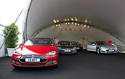 LONDON, ENGLAND - Saturday, June 7, 2014: Some of the first five UK Model S cars at the UK launch of Tesla Motors' Model S electric car at the Crystal. (Pic by David Rawcliffe/Propaganda)