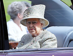 The Queen leaves Windsor Castle to meet The President of the United Arab Emirates, Sheikh Khalifa bin Zayed Al Nahyan on  the first day of his State Visit to the UK, Tuesday, 30th April 2013 Photo by: Stephen Lock / i-Images