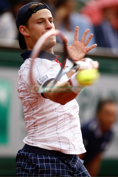 June 2, 2017 - Paris, France - Diego Schwartzman of Argentina in action during the Roland Garros French Tennis Open 2017, on June 2, 2017, at the Roland Garros Stadium in Paris, France  (Credit Image: © Mehdi Taamallah/NurPhoto via ZUMA Press)