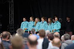 Drops Cycling on the podium at the Women's Ronde van Vlaanderen 2017 Team Presentation.