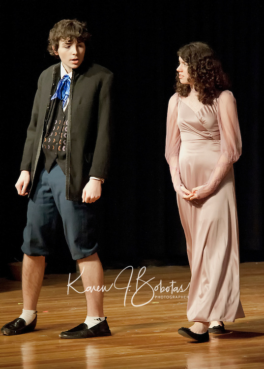 Mr. Darcy (Josh Curtis) and Elizabeth Bennet (Brooke Baerman) in Laconia High School's production of Pride and Prejudice during dress rehearsal Tuesday evening.  (Karen Bobotas/for the Laconia Daily Sun)