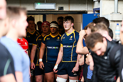 Ted Hill (Worcester Sixth Form College) (capt) of Worcester Warriors U18 leads out his team - Rogan Thomson/JMP - 16/02/2017 - RUGBY UNION - Sixways Stadium - Worcester, England - Worcester Warriors U18 v Saracens U18 - Premiership Rugby Under 18 Academy Finals Day 5th Place Play-Off.