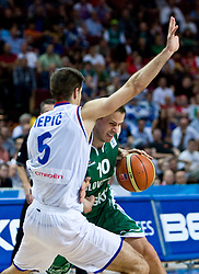 Milenko Tepic of Serbia and Bostjan Nachbar (10) of Slovenia during the EuroBasket 2009 Semi-final match between Slovenia and Serbia, on September 19, 2009, in Arena Spodek, Katowice, Poland. Serbia won after overtime 96:92.  (Photo by Vid Ponikvar / Sportida)