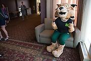 Rufus greets prospective students outside of the 2016 Ohio University Majors Fair held at the Baker Center Ballroom on Wednesday, September 14, 2016.
