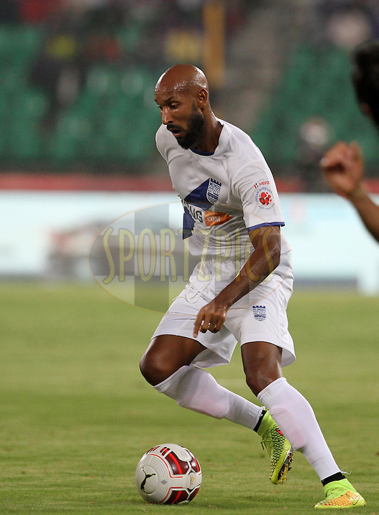Nicolas Anelka of Mumbai City FC on the attack during match 15 of the Hero Indian Super League between Chennaiyin FC and Mumbai City FC held at the Jawaharlal Nehru Stadium, Chennai, India on the 28th October 2014.<br /> <br /> Photo by:  Vipin Pawar/ ISL/ SPORTZPICS