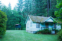 Old ranger station which is now used to house big eared bats. Smith River, Oregon.