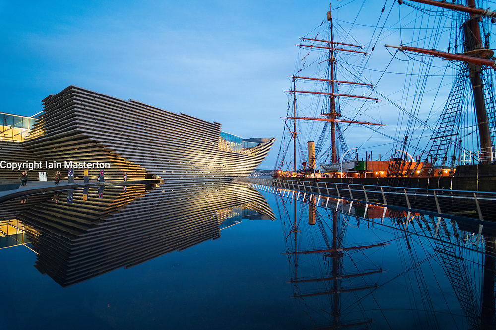 Exterior view of new V&A Museum and RRS Discovery ship at Discovery Point in the evening in Dundee, Scotland, UK. Architect Kengo Kuma.