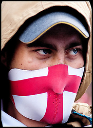 EDL supporters attend the protest against what they see as the influence of Islam in the Tower Hamlets area of London, United Kingdom. Saturday, 7th September 2013. Picture by Piero Cruciatti / i-Images