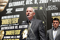 September 19, 2007; New York, NY, USA; Nigel Collins, editor of Ring Magazine, speaks at the press conference announcing the bout between World Welterweight Champion Floyd Mayweather Jr and World Junior Welterweight Champion Ricky Hatton.  The fight will take place on December 8, 2007 at the MGM Grand Garden Arena in Las Vegas, Nevada.