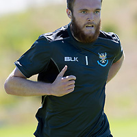 St Johnstone Training…<br />Keeper Zander Clark pictured during pre-season training at McDiarmid Park <br />Picture by Graeme Hart.<br />Copyright Perthshire Picture Agency<br />Tel: 01738 623350  Mobile: 07990 594431