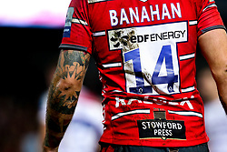 The back of Matt Banahan of Gloucester Rugby - Mandatory by-line: Robbie Stephenson/JMP - 16/11/2018 - RUGBY - Kingsholm - Gloucester, England - Gloucester Rugby v Leicester Tigers - Gallagher Premiership Rugby