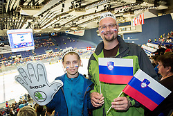 Fans of Slovenia prior to the Ice Hockey match between Slovenia and Denmark at Day 11 in Group B of 2015 IIHF World Championship, on May 11, 2015 in CEZ Arena, Ostrava, Czech Republic. Photo by Vid Ponikvar / Sportida