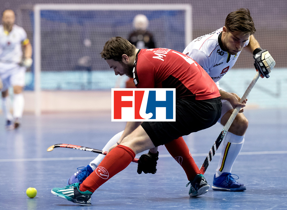 BERLIN - Indoor Hockey World Cup<br /> Men: Switzerland - Belgium<br /> foto: Cedric Charlier and Patrick M&uuml;ller.<br /> WORLDSPORTPICS COPYRIGHT FRANK UIJLENBROEK