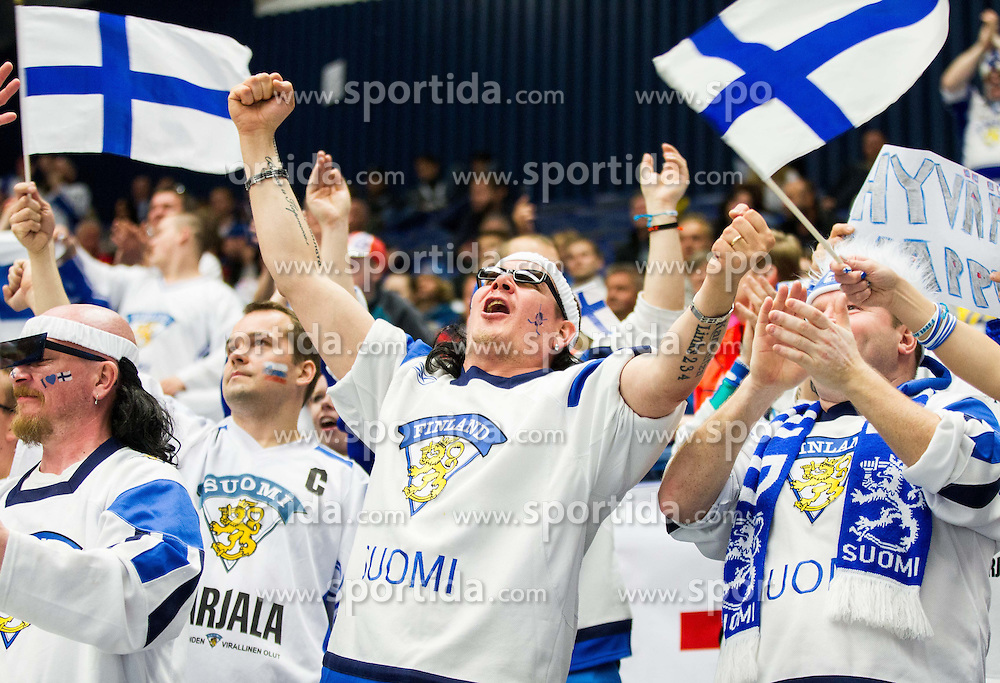 Fans of Finland celebrate during Ice Hockey match between Finland and Slovenia at Day 7 in Group B of 2015 IIHF World Championship, on May 7, 2015 in CEZ Arena, Ostrava, Czech Republic. Photo by Vid Ponikvar / Sportida