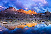 Evening light on the Palisades in Dusy Basin, Kings Canyon National Park, California USA