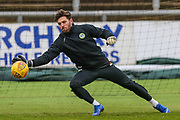 Forest Green Rovers goalkeeper James Montgomery warming up during the EFL Sky Bet League 2 match between Newport County and Forest Green Rovers at Rodney Parade, Newport, Wales on 26 December 2018.