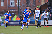 Nathaniel Mendez-Laing celebrates 1-0  during the Sky Bet League 1 match between Rochdale and Bury at Spotland, Rochdale, England on 12 March 2016. Photo by Daniel Youngs.
