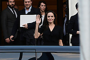 March 16, 2016 - Athens, Attica, Greece - <br /> <br /> Angelina Jolie Visits Refugee Camp in Greece<br /> <br /> Hollywood star and UN refugee agency envoy Angelina Jolie leaves the Greek Prime minister's office in Athens following a meeting with Greek Prime minister on March 16, 2016.<br /> ©Exclusivepix Media