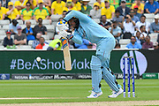 Jason Roy of England defends against Mitchell Starc of Australia during the ICC Cricket World Cup 2019 semi final match between Australia and England at Edgbaston, Birmingham, United Kingdom on 11 July 2019.