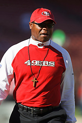 October 10, 2010; San Francisco, CA, USA;  San Francisco 49ers head coach Mike Singletary walks the sidelines before the game against the Philadelphia Eagles at Candlestick Park.