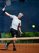 Andrea Anastasi - Italian volleyball coach of Polish national team during his tennis training in Tie Break tennis club in Warsaw, Poland...Poland, Warsaw, May 19, 2013..Picture also available in RAW (NEF) or TIFF format on special request...For editorial use only. Any commercial or promotional use requires permission...Photo by © Adam Nurkiewicz / Mediasport