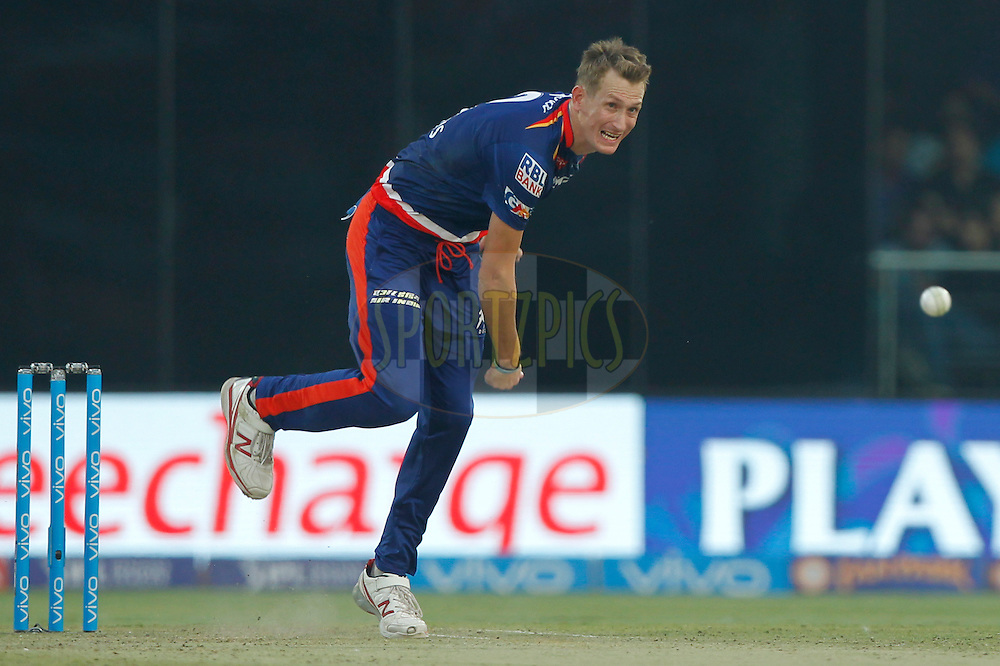 Christopher Morris of Delhi Daredevils bowls during match 26 of the Vivo IPL ( Indian Premier League ) 2016 between the Delhi Daredevils and the Kolkata Knight Riders held at The Feroz Shah Kotla Ground in Delhi, India,  on the 30th April 2016<br /> <br /> Photo by Deepak Malik / IPL/ SPORTZPICS