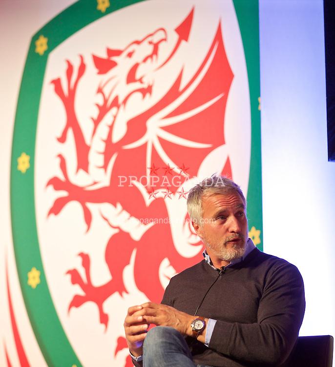 NEWPORT, WALES - Saturday, May 30, 2015: David Ginola during the Football Association of Wales' National Coaches Conference 2015 at the Celtic Manor Resort. (Pic by David Rawcliffe/Propaganda)