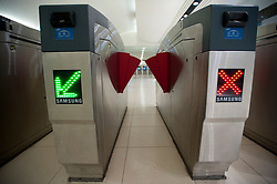 Modern ticket barrier at entrance to new subway station in Beijing China