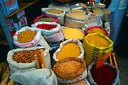 Sacks of spices and foodstuffs on display, Fethiye market, Turkey