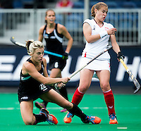 BRASSCHAAT (ANTWERP) - Gemma Flynn scores during the Fintro Hockey World League Semi-Final match between the women of New Zealand and Poland. right Sztybrych COPYRIGHT WORLDSPORTPICS KOEN SUYK