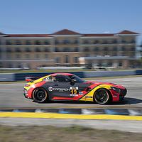 March 15, 2018 - Sebring, Florida, USA:  The Stephen Cameron Racing Porsche Cyman GT4 MR races through the turns at the Alan Jay Automotive Network 120 at Sebring International Raceway in Sebring, Florida.