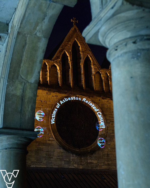 Derbyshire Asbestos Support Team (DAST) asbestos cancer reflection and celebration of life event at Lincoln Cathedral.  The event included projecting names of people who'd died from asbestos related cancers onto the wall of the Cathedral.<br /> <br /> Picture: Chris Vaughan Photography<br /> Date: November 9, 2016