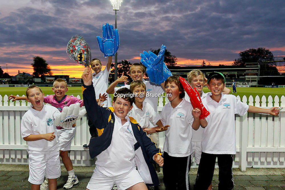 Young cricket fans during the HRV Cup - Northern Knights v Otago Volts, 2 November 2012.  Photo:  Bruce Lim / photosport.co.nz