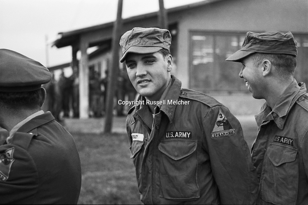 Closeup of Elvis Presley,a happy GI in Friedberg, Germany.<br />