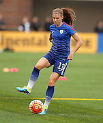 CHATTANOOGA, TN - AUGUST 19:  Forward Alex Morgan #13 of the United States warms up before the friendly match against Costa Rica at Finley Stadium on August 19, 2015 in Chattanooga, Tennessee.  (Photo by Mike Zarrilli/Getty Images)