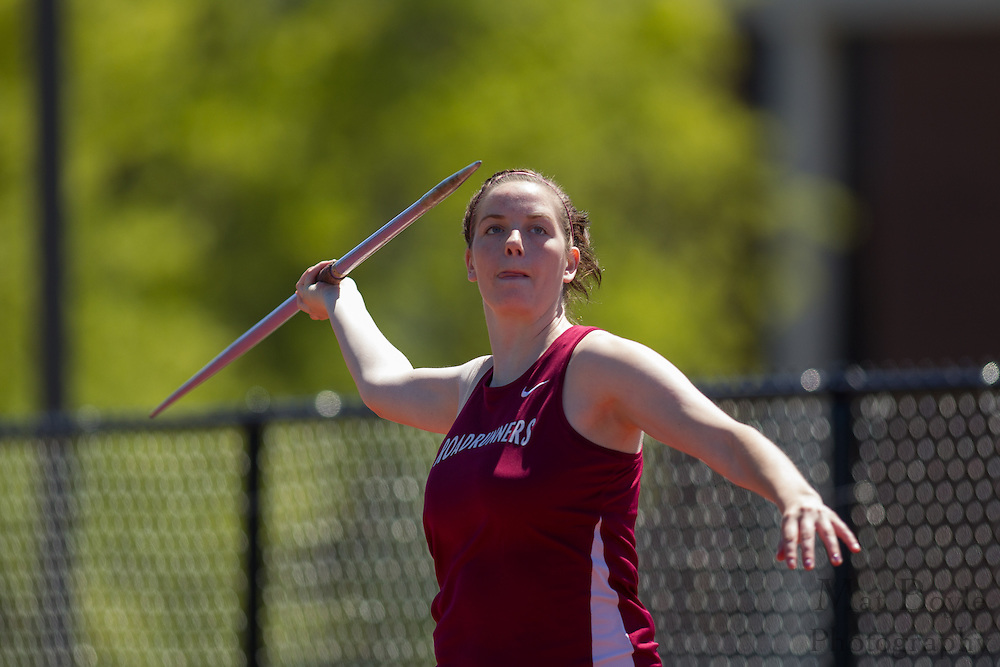 Ramapo College's Natalie Scanlan competes in the women's javelin  at the NJAC Track and Field Championships at Richard Wacker Stadium on the campus of  Rowan University  in Glassboro, NJ on Sunday May 5, 2013. (photo / Mat Boyle)