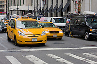 yellow taxis on Broadway in New York October 2008