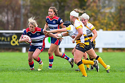 Claire Molloy of Bristol Ladies is tackled by Alice Sheffield of Wasps Ladies - Mandatory by-line: Craig Thomas/JMP - 28/10/2017 - RUGBY - Cleve RFC - Bristol, England - Bristol Ladies v Wasps Ladies - Tyrrells Premier 15s