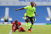 Gaetan Bong of Brighton & Hove Albion and Coke of Sevilla during the Pre-Season Friendly match between Brighton and Hove Albion and Sevilla at the American Express Community Stadium, Brighton and Hove, England on 2 August 2015. Photo by Ellie Hoad.