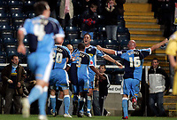 Photo: Marc Atkins.<br />Wycombe Wanderers v Oxford United. The FA Cup. 11/11/2006. Stephan Oakes of Wycombe celebrates scoring his teams 2nd goal.