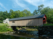 Image of the famous Green River Covered Bridge, near Brattleboro, Vermont, USA.